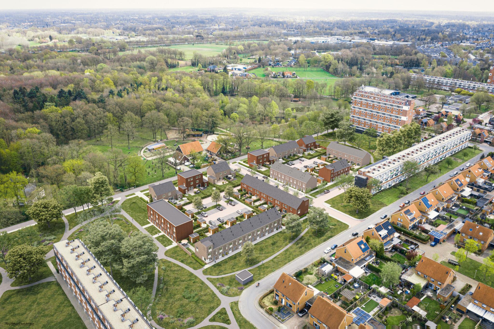 Nieuwe Es Hengelo - Vogelvlucht - yoreM Digital in Real Estate