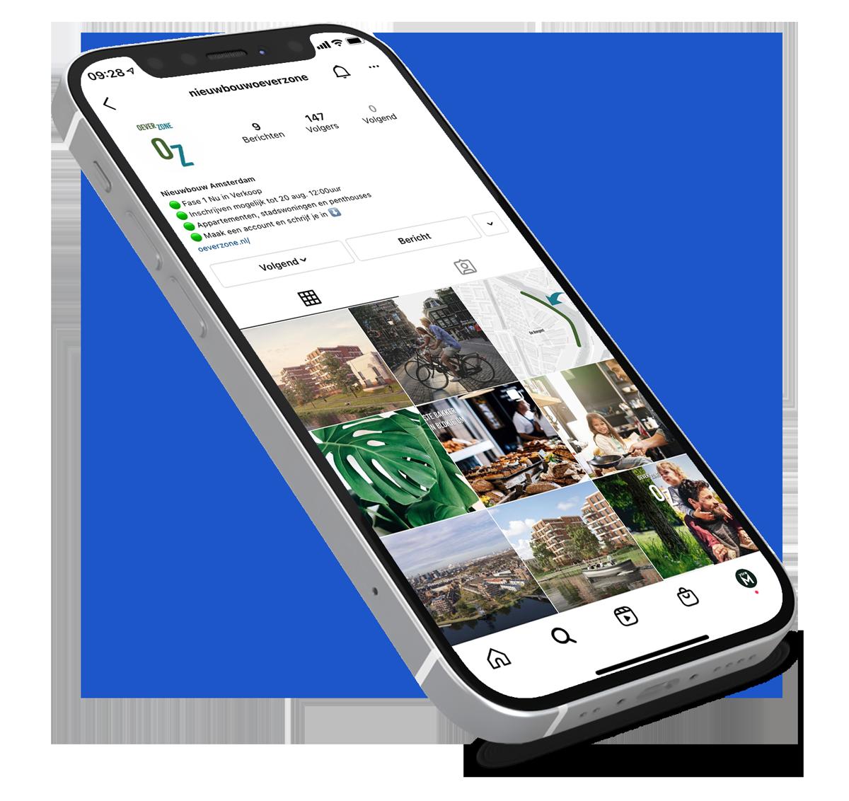 Oeverzone - Contentmarketing Mockup Mobile - yoreM Digital in Real Estate