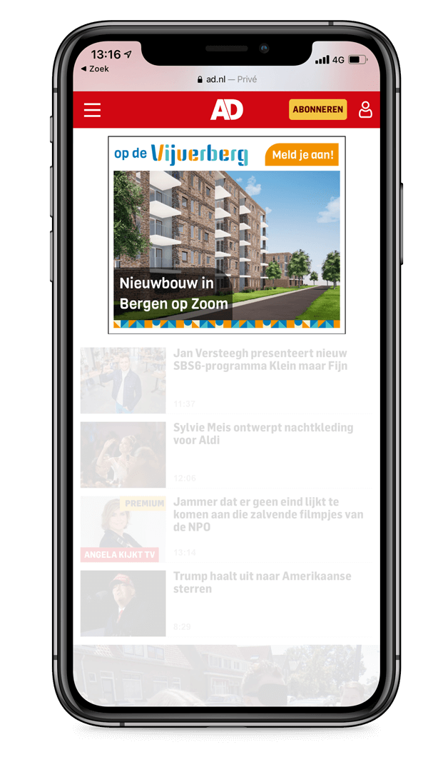 Op de Vijverberg - Mockup AD - yoreM Digital in Real Estate
